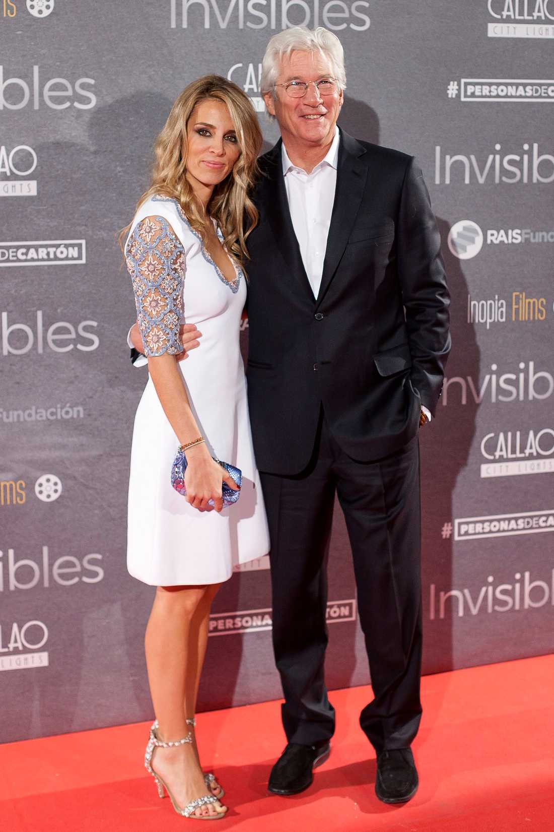 """Skådespelaren Richard Gere och Alejandra Silva vid premiären av """"Time Out of Mind"""" i Madrid."""
