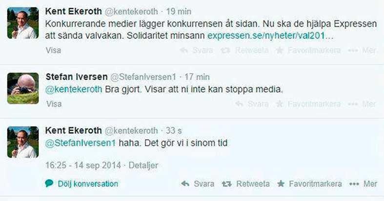 SD:s toppolitiker Kent Ekeroth twittrade om att obekväma medier ska stoppas.