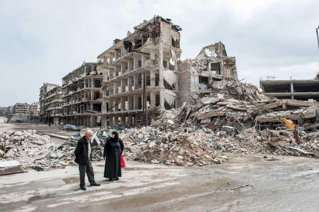 En bild från Syriens näst största stad Aleppo i mars 2017.