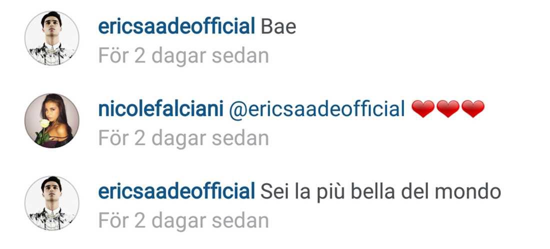 Paret flörtar öppet i sociala medier - och Saade briljerar på italienska. (Du är vackrast i hela världen, betyder det)