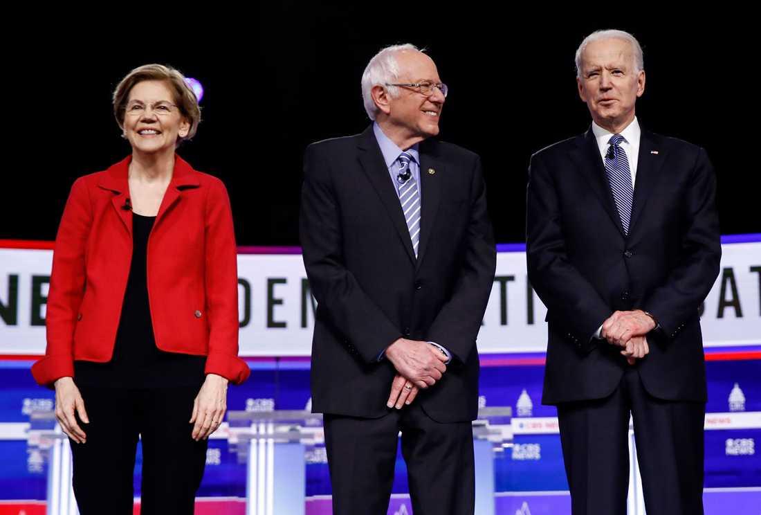 Elizabeth Warren, Bernie Sanders och Joe Biden samlar sina trupper inför supertisdagen.