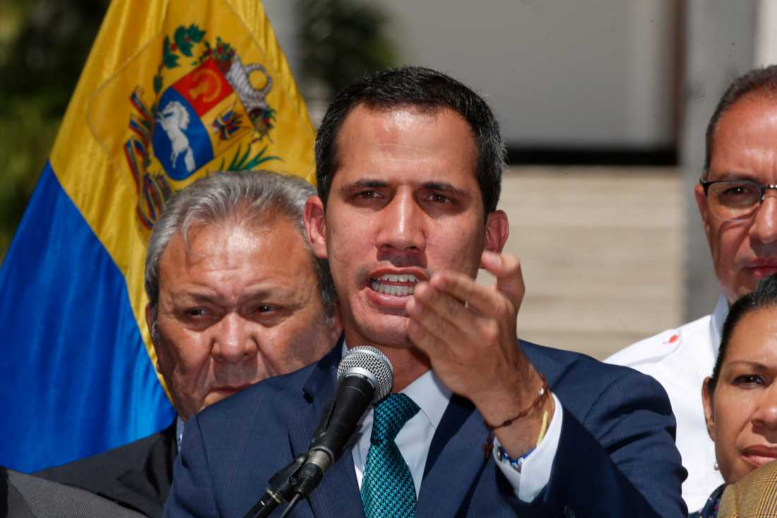 Oppositionsledaren Juan Guaidó under en presskonferens i Venezuelas huvudstad Caracas.