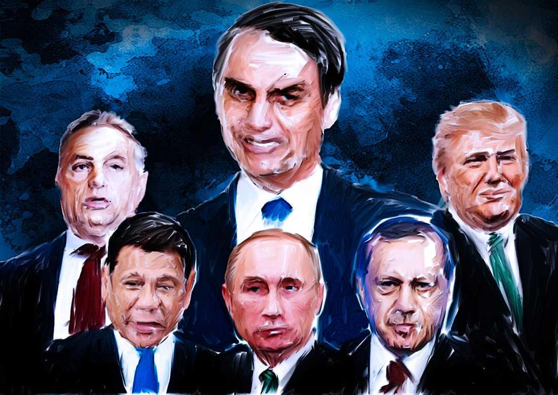 """Jair Bolsonaro är senaste """"starke mannen"""" att sälla sig till gruppen med Orbán, Duterte, Putin, Erdogan och Trump."""