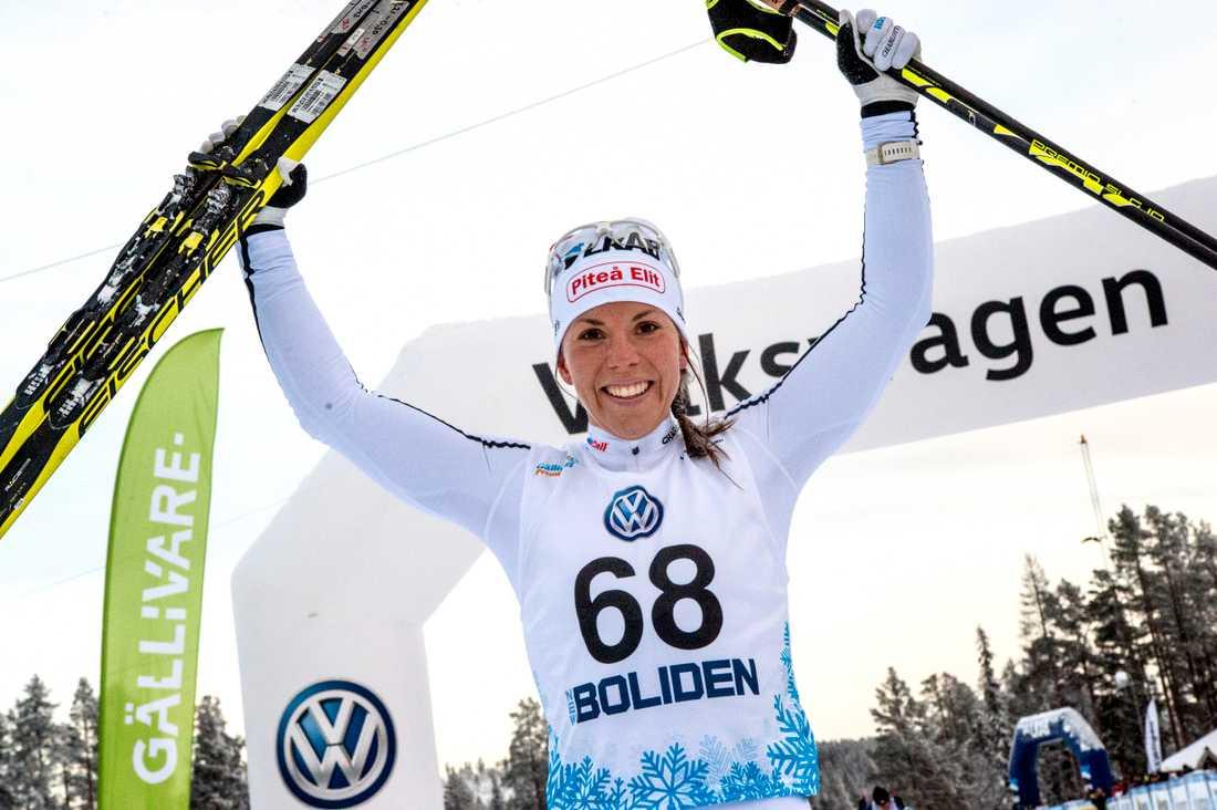 Charlotte Kalla under Sverigepremiären i Gällivare 2017.