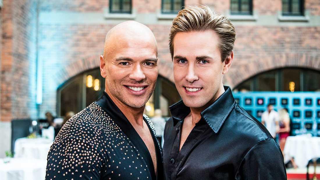 """Andreas Lundstedt och Tobias Bader dansar ihop i """"Let's dance"""" 2020."""
