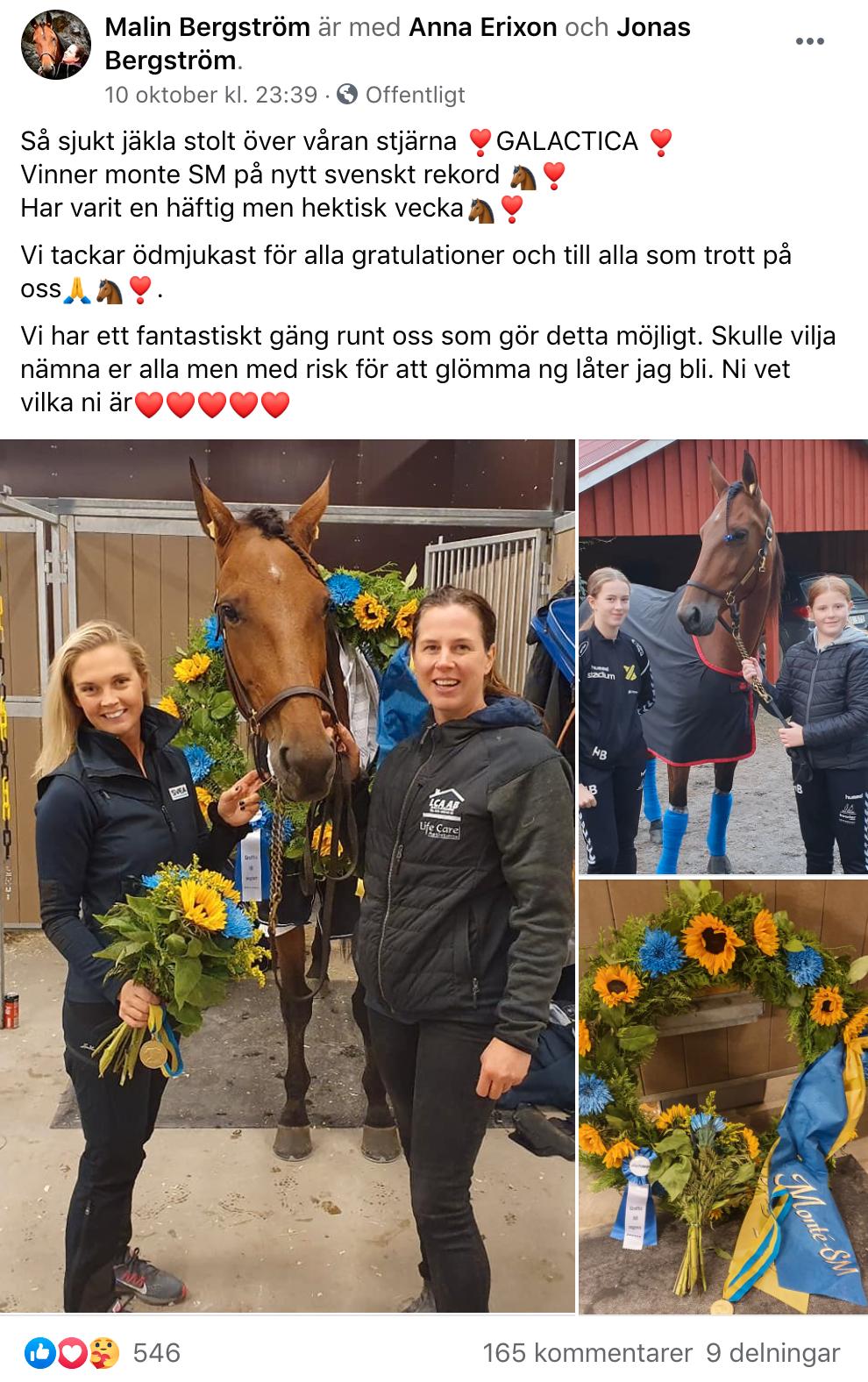 En stolt tränare (Maliin Bergström) tackar alla som varit en del i Galacticas framgångar
