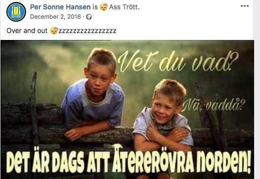 """Som förklaring till bilderna han sprider skriver Per Sonne Hansen: """"Det kan vara så att jag tycker att Sverige är långt ifrån sig likt, men det gör inte mig till rasist om det är det du syftar på""""."""