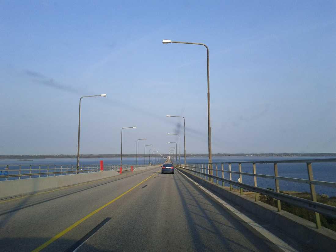 """Vanligen en trafikpropp. """"Inga köer på Ölandsbron"""", rapporterar familjen Wallentin."""