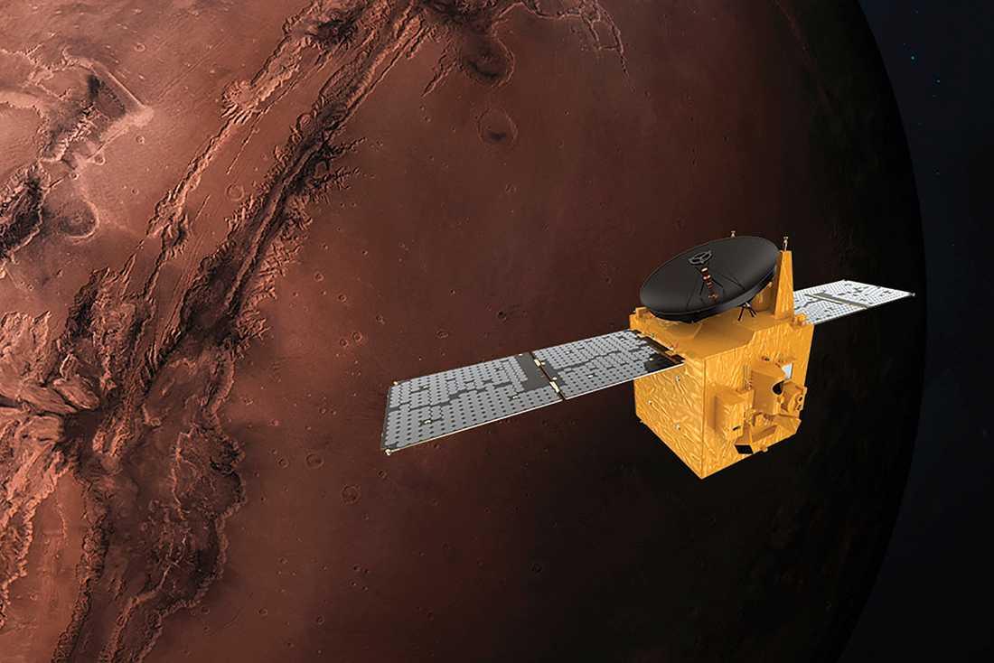 En animering i Mohammed bin Rashid Space Centre visar Förenade arabemiratens al-Amal som ska lyfta till Mars från Japan.