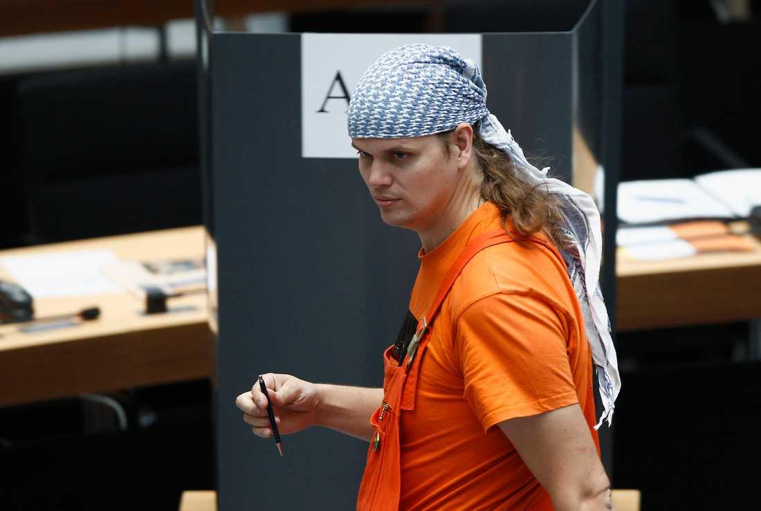 Gerwald Claus-Brunner på sin första dag i det lokala Berlinparlamentet september 2011.