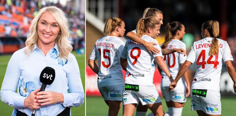 SVT:s expert Frida Östberg/Rosengård firar efter ett mål.