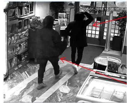 Övervakningskameror visar hur den misstänkte mannen rört sig.