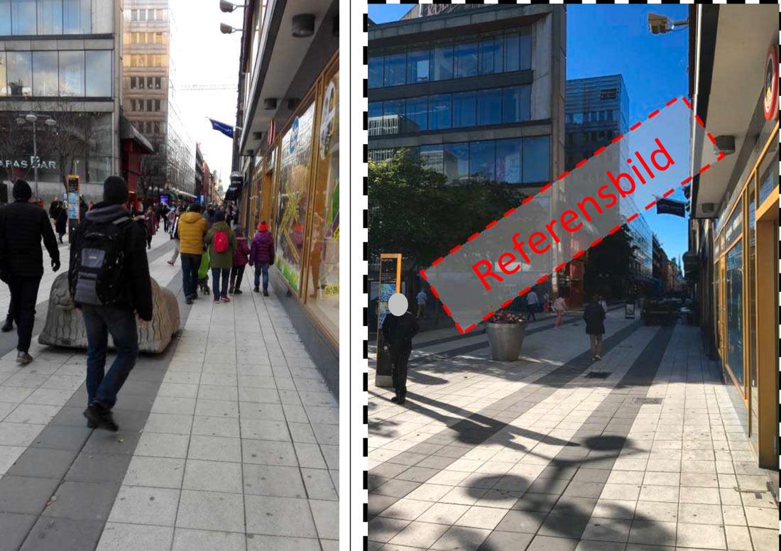 Bild på Sergelstorg från Akilovs mobiltelefon, 16.51, samt polisens referensbild.