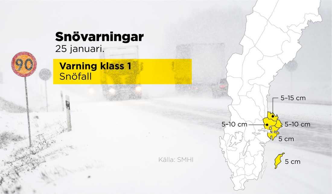 Karta som visar klass 1-varningar gällande nederbörd.
