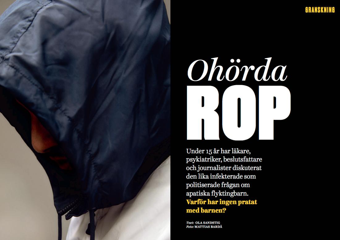 """I reportaget """"Ohörda rop"""" intervjuar Tidningen Filter personer som tvingades spela sjuka för att få uppehållstillstånd i Sverige."""