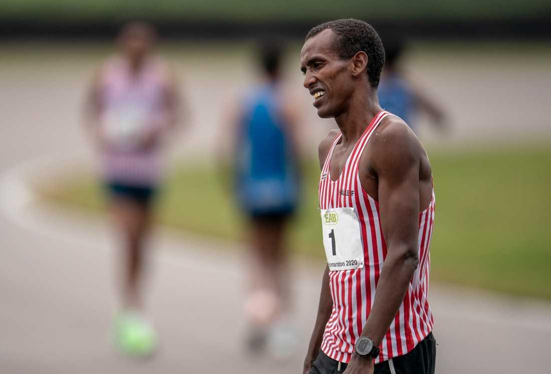 """Mustafa """"Musse"""" Mohamed kom på tredje plats i herrarnas SM i halvmaraton på Anderstorp motorbana tidigare i somras."""