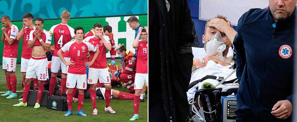 De danska spelarna bildade en mur kring sin medvetslöse lagkamrat  Christian Eriksen för att kamerorna på arenan inte skulle filma honom.
