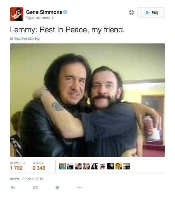 Tweet från Gene Simmons i Kiss.