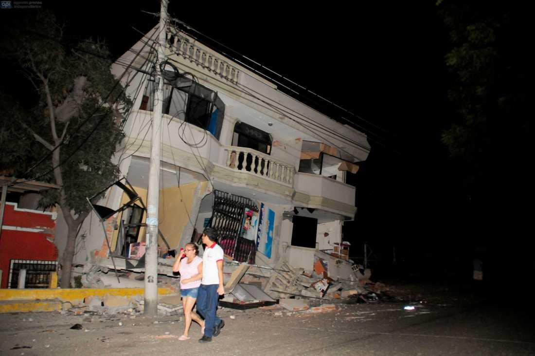 Ett raserat hus i staden Guayaquil.