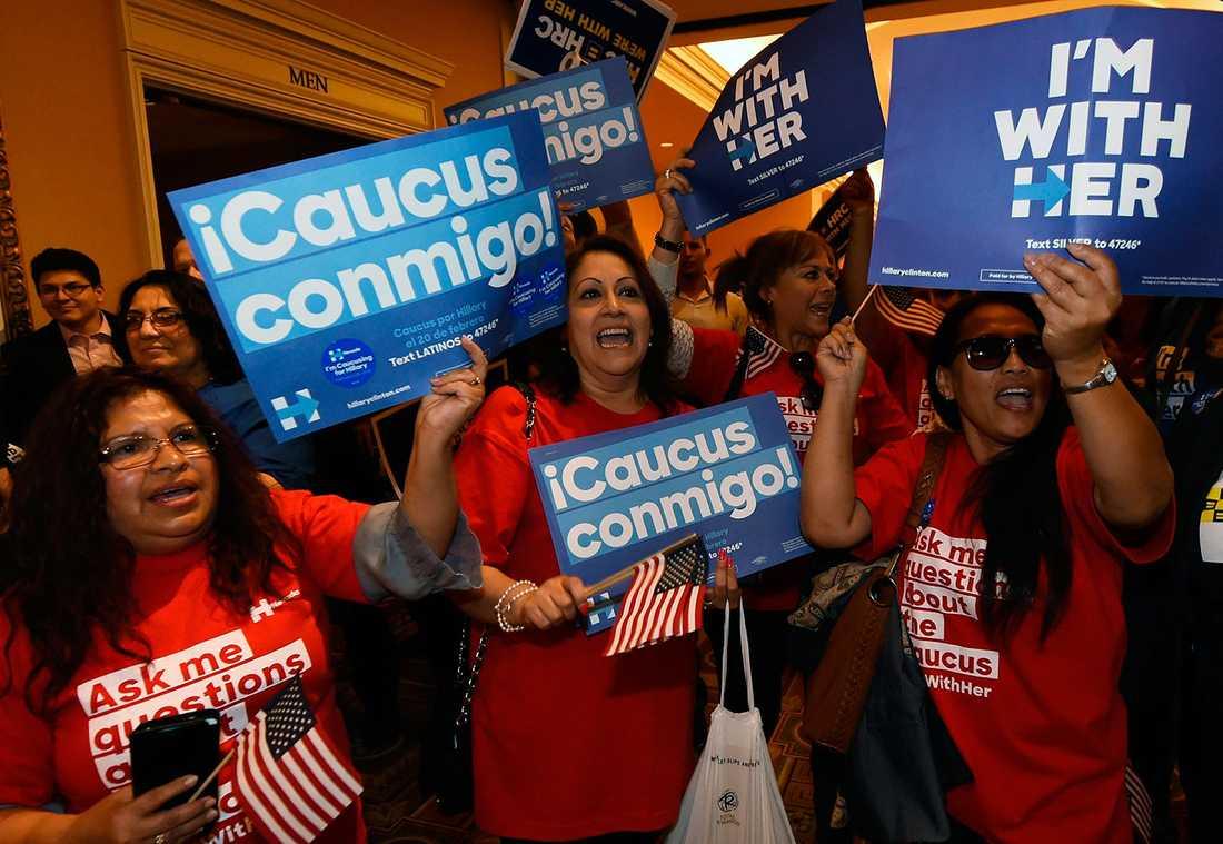 Hillary Clinton supportrar i Nevada.