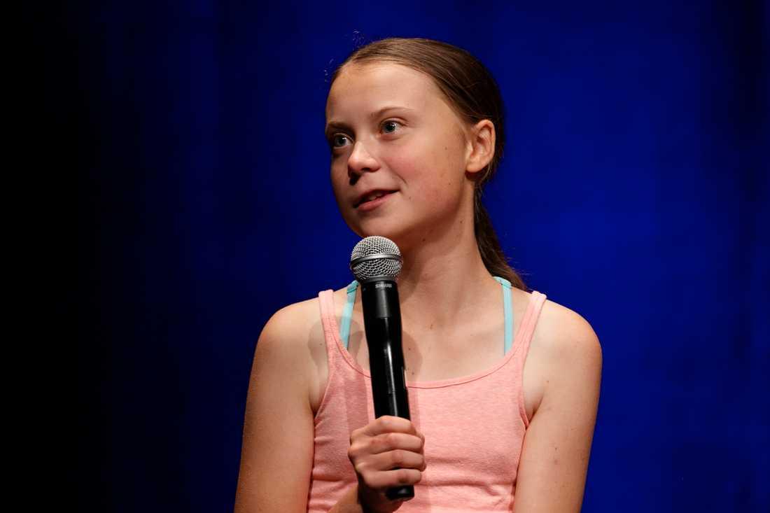 Greta Thunberg håller tal efter det att hon mottagit priset.