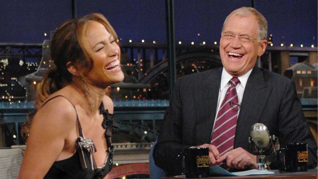 """Klassiska """"Late show"""" med David Letterman, som här gästas av Jennifer Lopez."""
