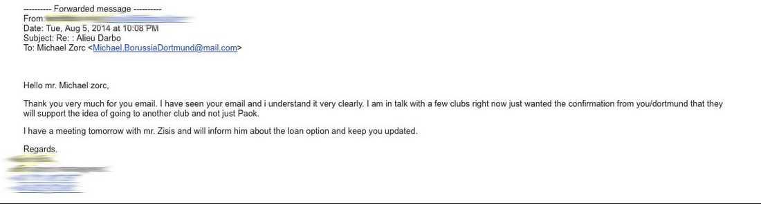Mailkonversationen mellan Robert och Borussia Dortmunds påstådda sportchef.