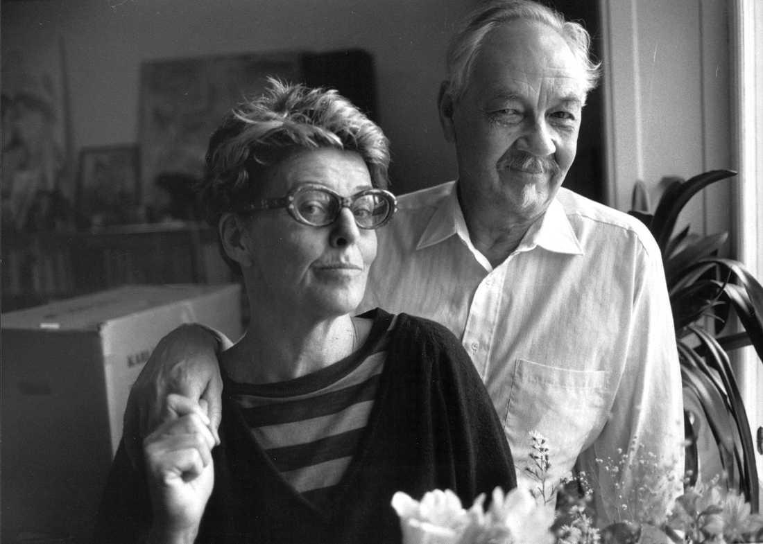 Lennart Hellsing och hustrun Yvonne Lombard på ett fotografi från 1989. De gifte sig 1953. Foto: URBAN ANDERSSON