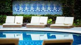 En av poolerna vid hotellet i Lissabon som Hyresgästföreningens stjärnvärvare fått resa till.