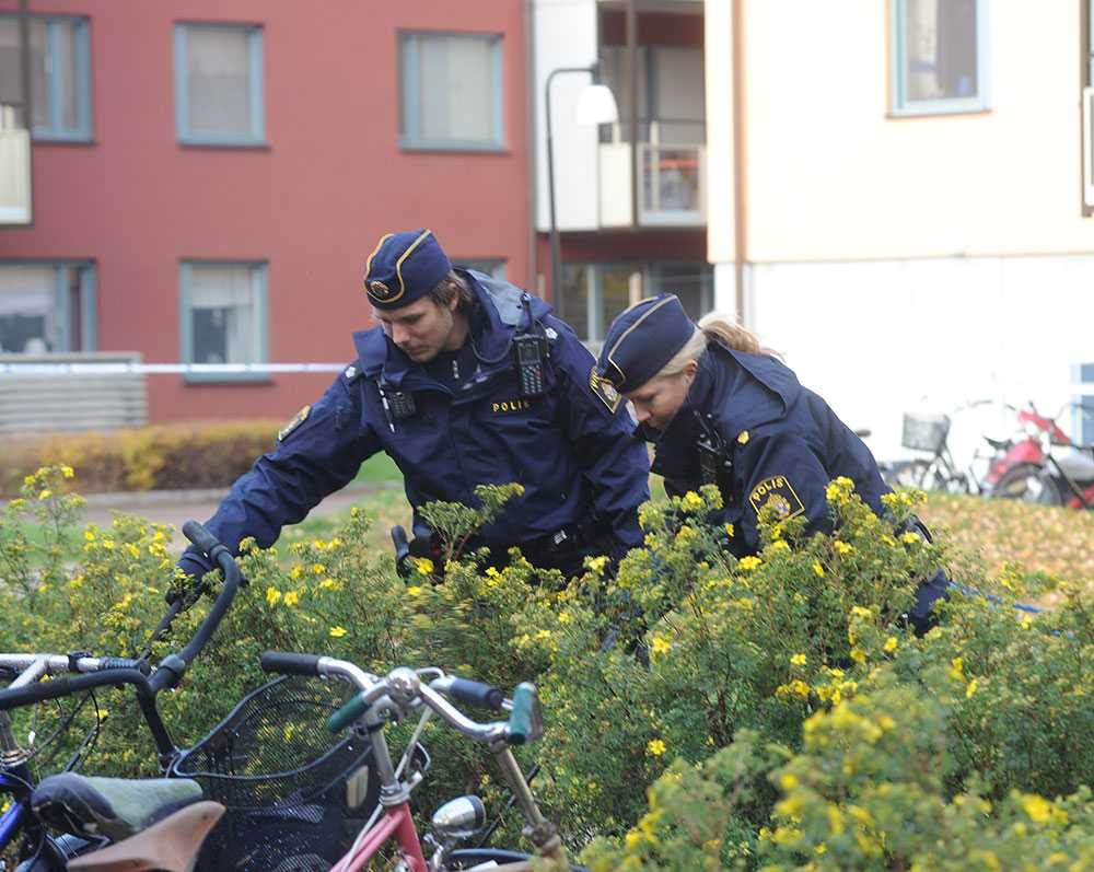 Poliser sökte igenom området.