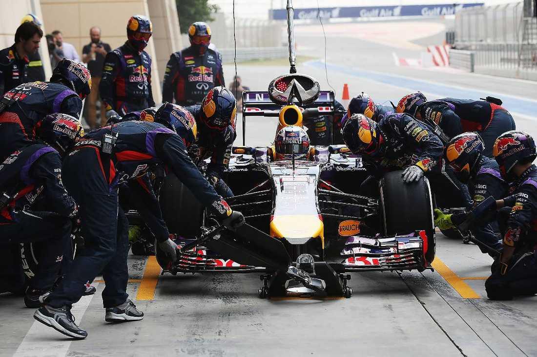 """""""alla verkar ha sina problem""""  Daniel Ricciardo, Red Bull, gör ett depåstopp i Bahrain. Mästarstallet är ett av alla de F1-team som fortfarande har frågetecken att räta ut. Svenske Marcus Ericsson, Caterham, är mitt i cirkusen. """"Generellt sett så verkar alla ha sina problem"""", säger han."""
