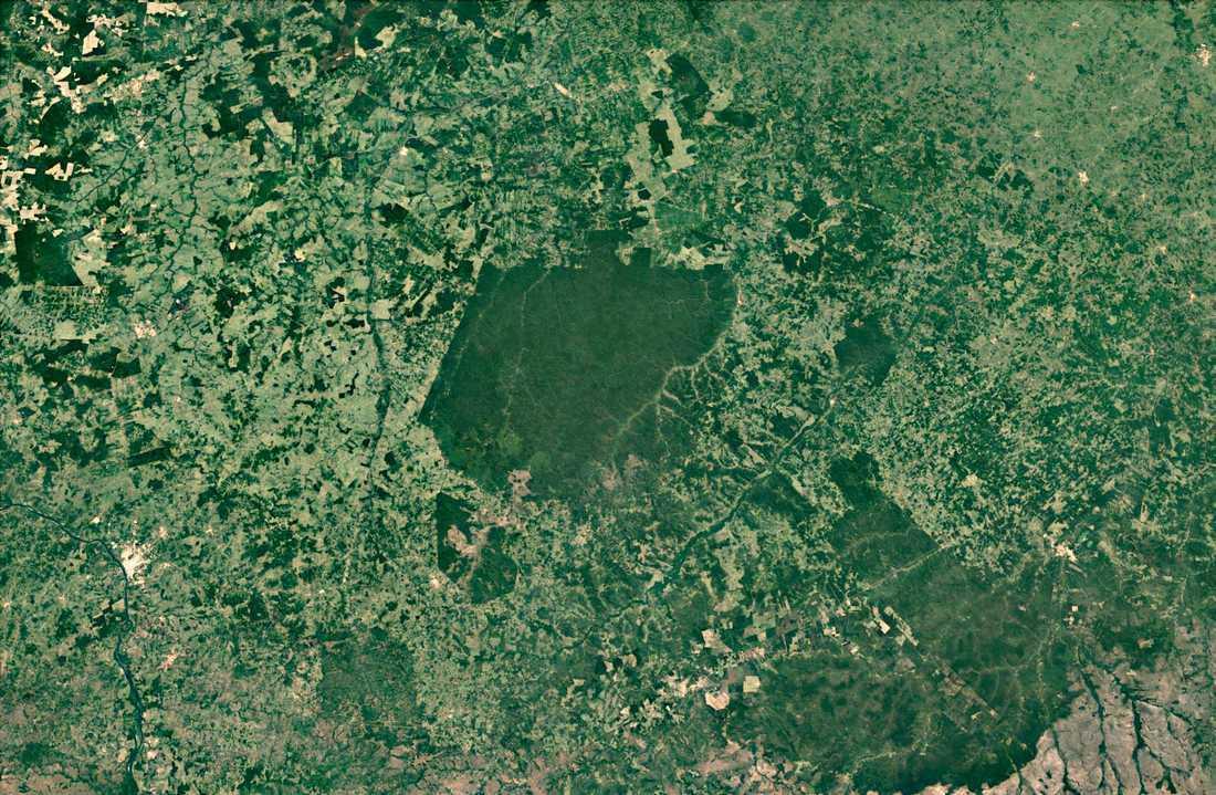 Arararibóia ligger som en ö av urskog i sydöstra Amazonas. Åt alla håll omges reservatet av skövlad mark. Forskarna tror att det är här regnskogens omvandling till savann kommer att börja