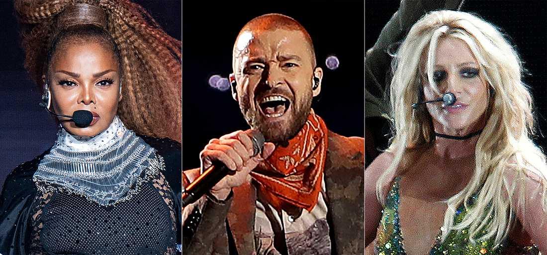 Justin Timberlake (i mitten) ber både Janet Jackson och Britney Spears om ursäkt. Arkivbild.