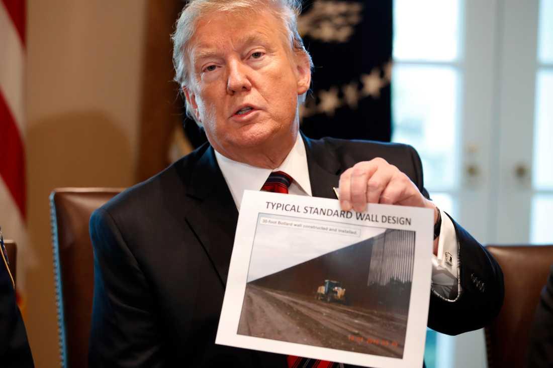 USA:s president Donald Trump diskuterar gränssäkerheten på fredagen.