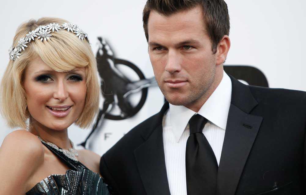 Paris Hilton tillsammans med den amerikanske skådespelaren Doug Reinhardt under filmfestivalen i Cannes.