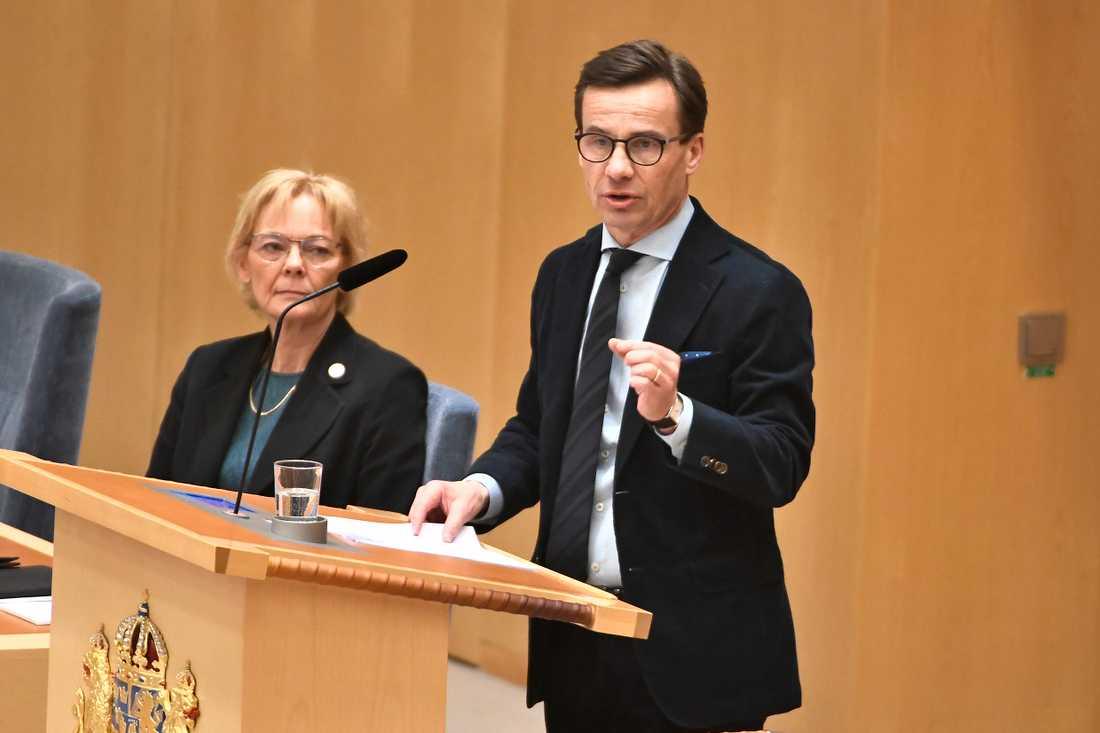 Moderaternas partiledare Ulf Kristersson (M) under partiledardebatt i riksdagen i Stockholm.