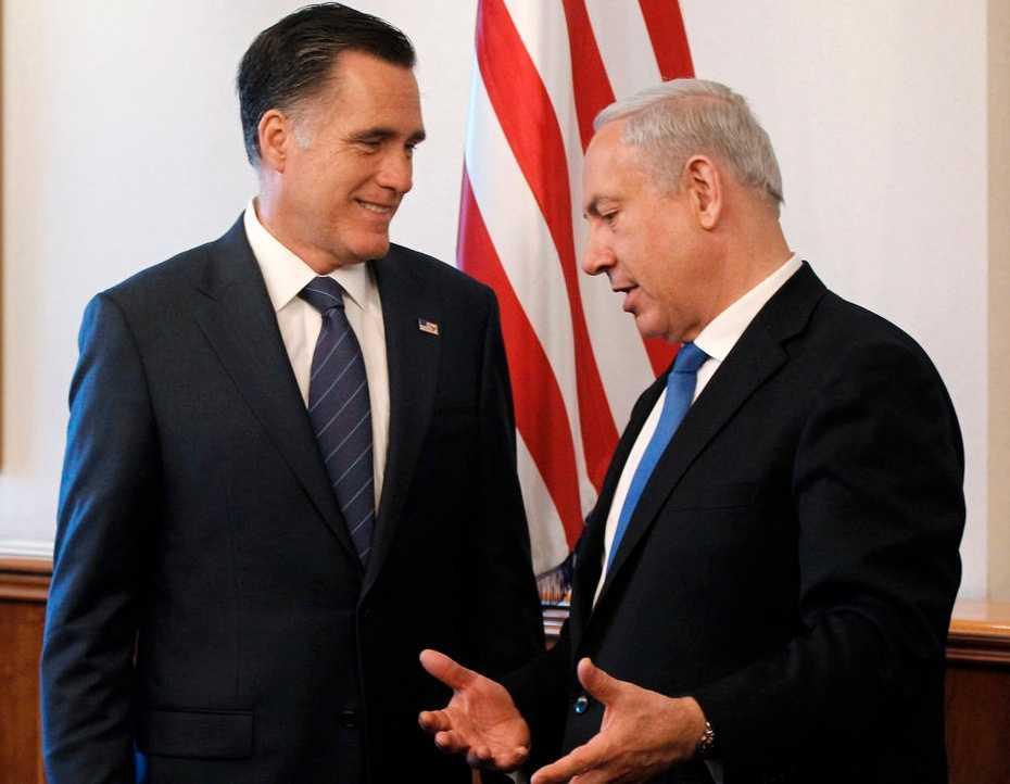Israels premiärminister Benjamin Netanyahu träffar Mitt Romney.